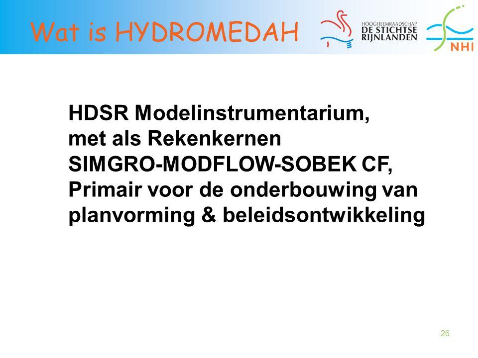 26 Wat is HYDROMEDAH HDSR Modelinstrumentarium, met als Rekenkernen SIMGRO-MODFLOW-SOBEK CF, Primair voor de onderbouwing van planvorming & beleidsont