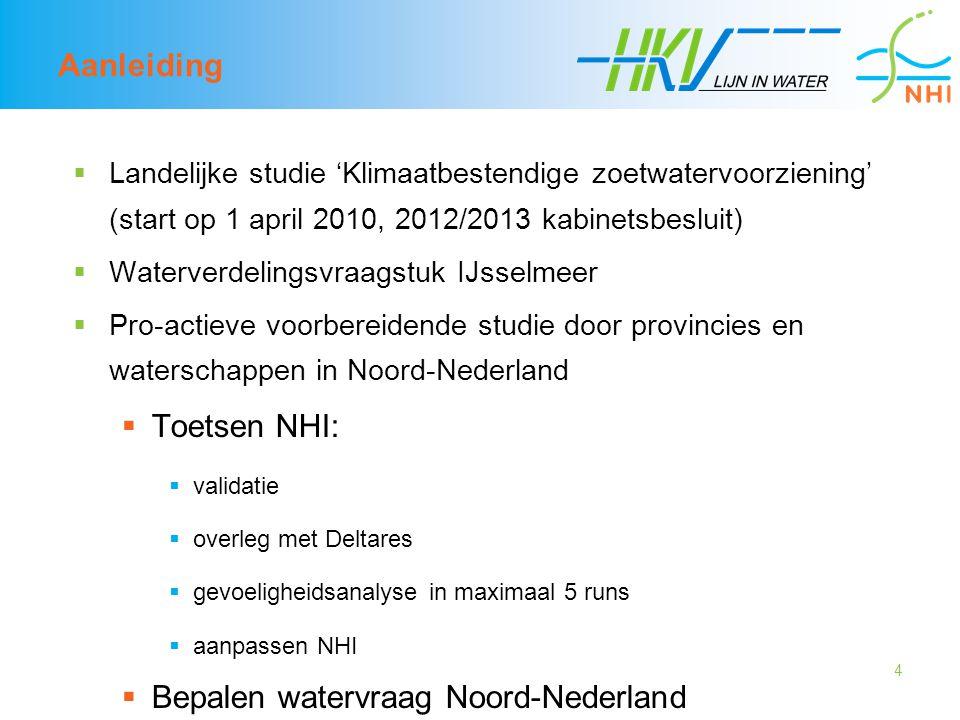 4 Aanleiding  Landelijke studie 'Klimaatbestendige zoetwatervoorziening' (start op 1 april 2010, 2012/2013 kabinetsbesluit)  Waterverdelingsvraagstu