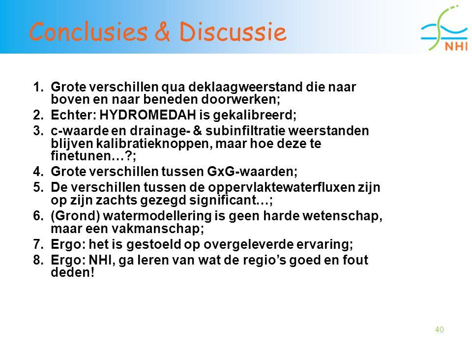 40 Conclusies & Discussie 1.Grote verschillen qua deklaagweerstand die naar boven en naar beneden doorwerken; 2.Echter: HYDROMEDAH is gekalibreerd; 3.