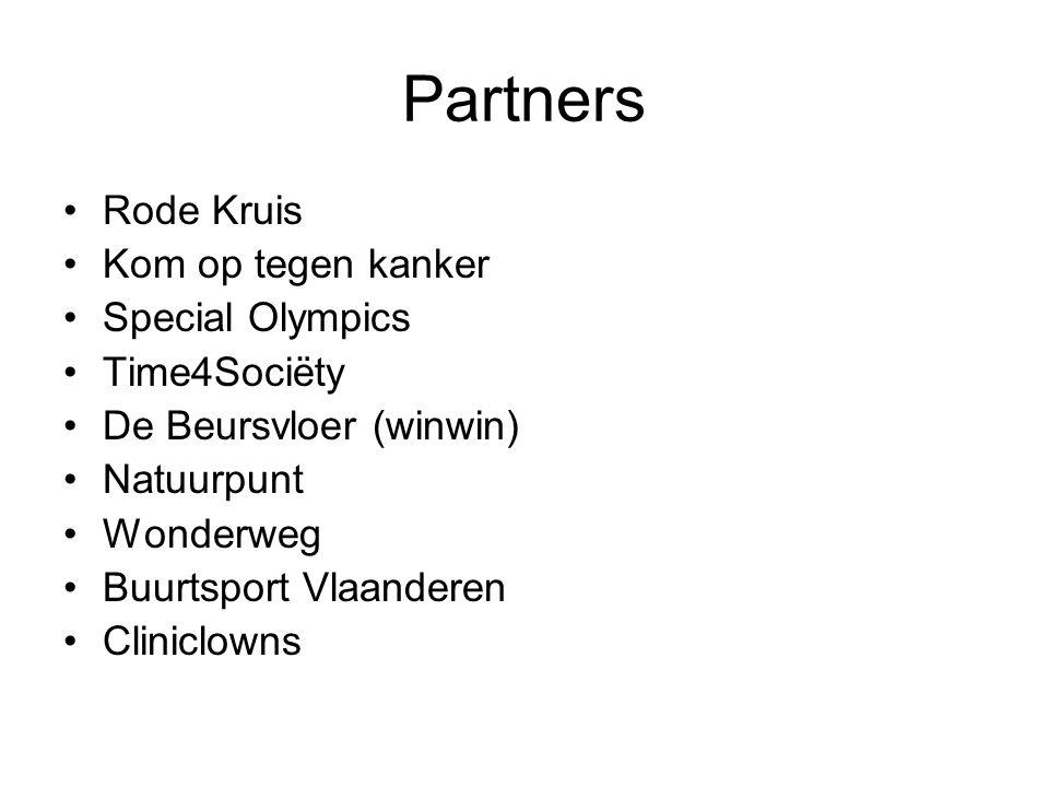 Partners Rode Kruis Kom op tegen kanker Special Olympics Time4Sociëty De Beursvloer (winwin) Natuurpunt Wonderweg Buurtsport Vlaanderen Cliniclowns