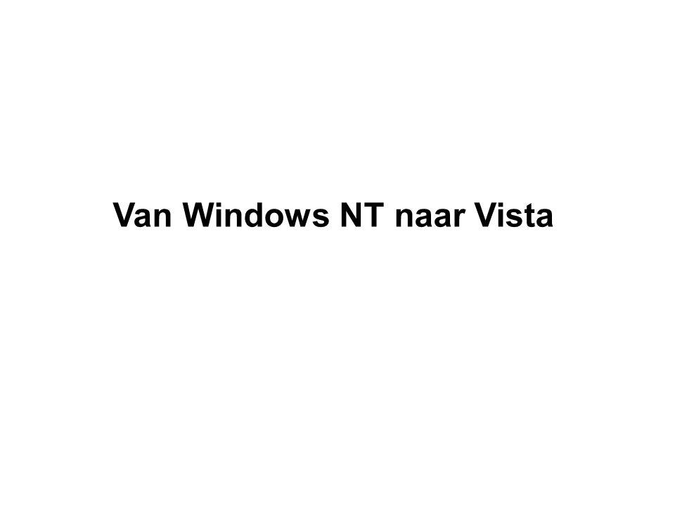 Windows XP (in 2001 uitgebracht) Tot XP waren er twee Windows-families: voor thuisgebruik, de versies: Windows 3.1, 95, 98, en Me voor zakelijk gebruik, de versies NT 3.1, NT 3.51, NT 4.0, en W2000 XP Home en XP Pro hebben nu dezelfde architectuur.