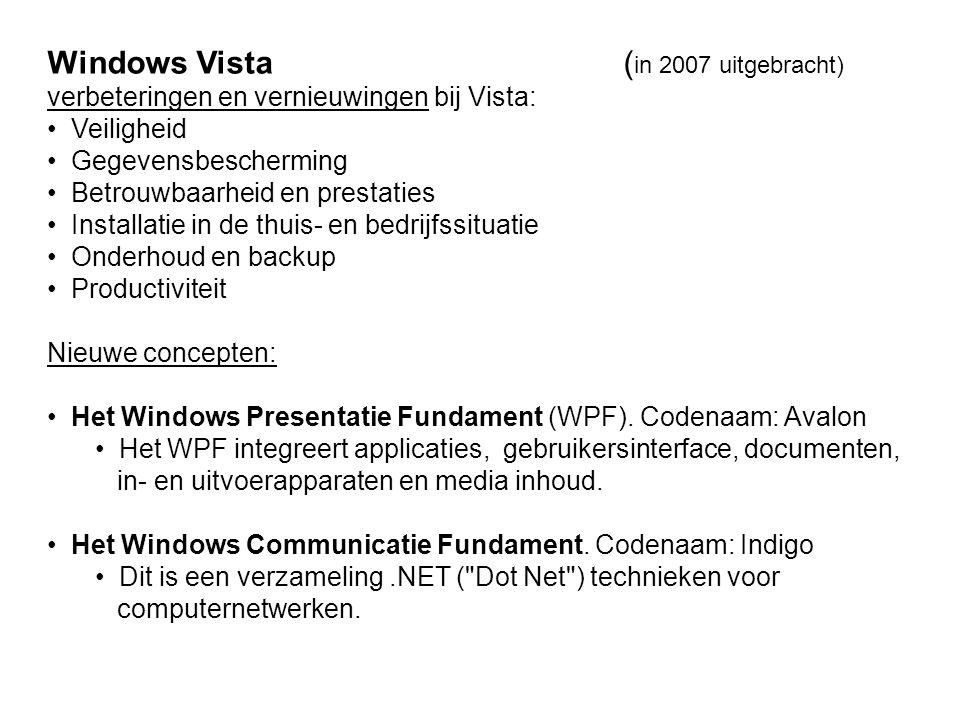 Windows Vista ( in 2007 uitgebracht) verbeteringen en vernieuwingen bij Vista: Veiligheid Gegevensbescherming Betrouwbaarheid en prestaties Installatie in de thuis- en bedrijfssituatie Onderhoud en backup Productiviteit Nieuwe concepten: Het Windows Presentatie Fundament (WPF).