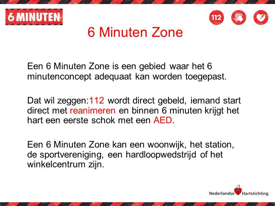 Een 6 Minuten Zone is een gebied waar het 6 minutenconcept adequaat kan worden toegepast. Dat wil zeggen:112 wordt direct gebeld, iemand start direct