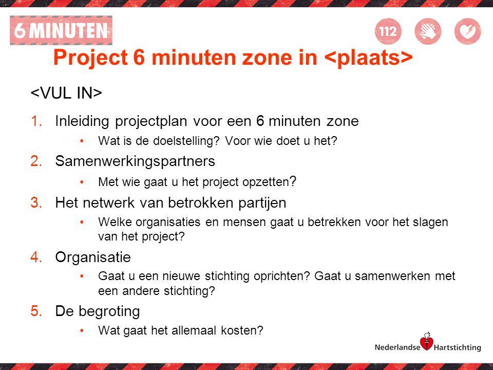 Project 6 minuten zone in 1.Inleiding projectplan voor een 6 minuten zone Wat is de doelstelling? Voor wie doet u het? 2.Samenwerkingspartners Met wie