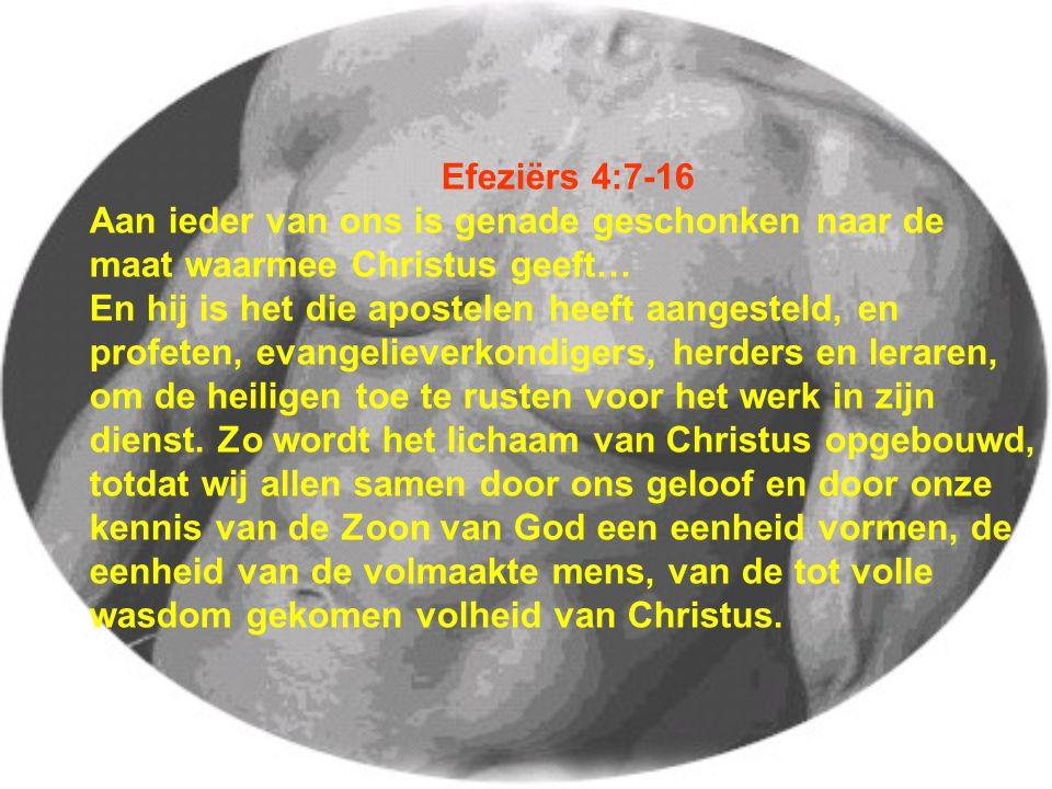 Efeziërs 4:7-16 Aan ieder van ons is genade geschonken naar de maat waarmee Christus geeft… En hij is het die apostelen heeft aangesteld, en profeten, evangelieverkondigers, herders en leraren, om de heiligen toe te rusten voor het werk in zijn dienst.