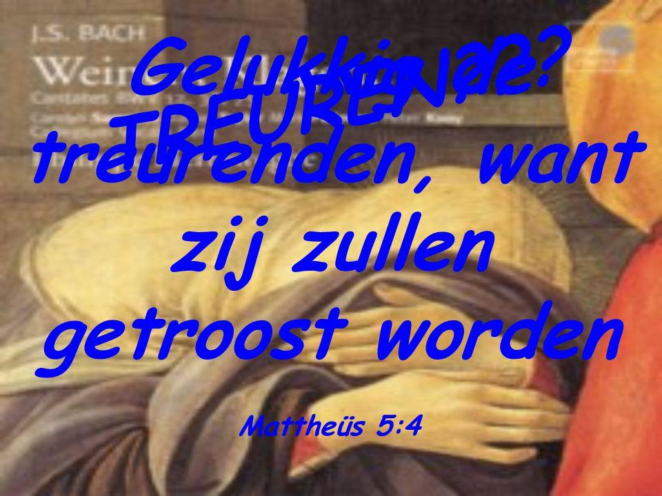 T R E U R E N ? ? ? Gelukkig de treurenden, want zij zullen getroost worden Mattheüs 5:4