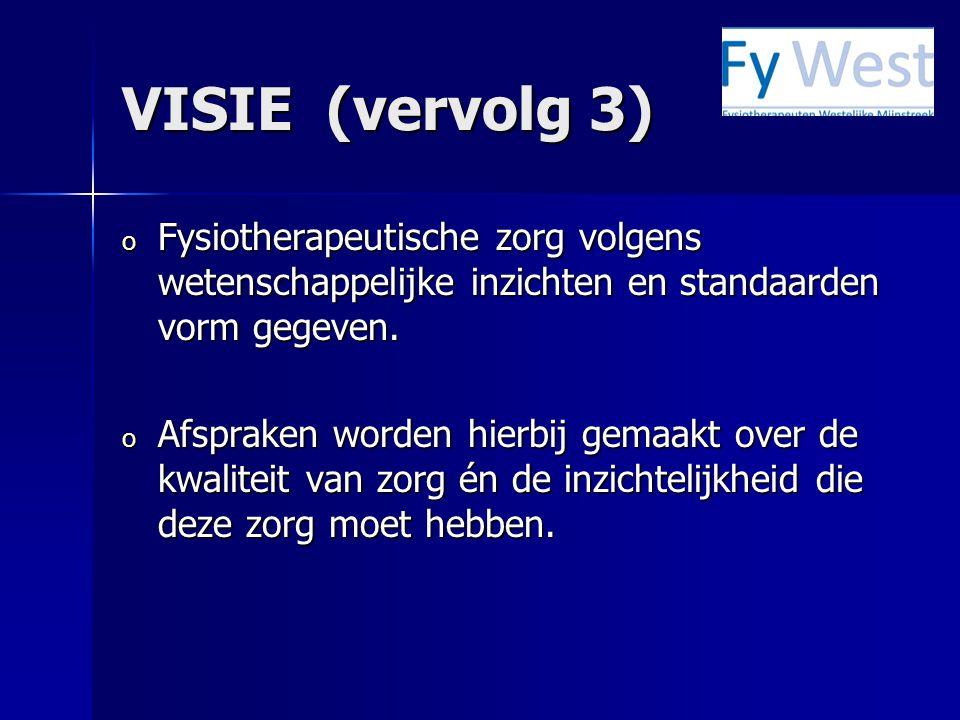 VISIE (vervolg 3) o Fysiotherapeutische zorg volgens wetenschappelijke inzichten en standaarden vorm gegeven. o Afspraken worden hierbij gemaakt over