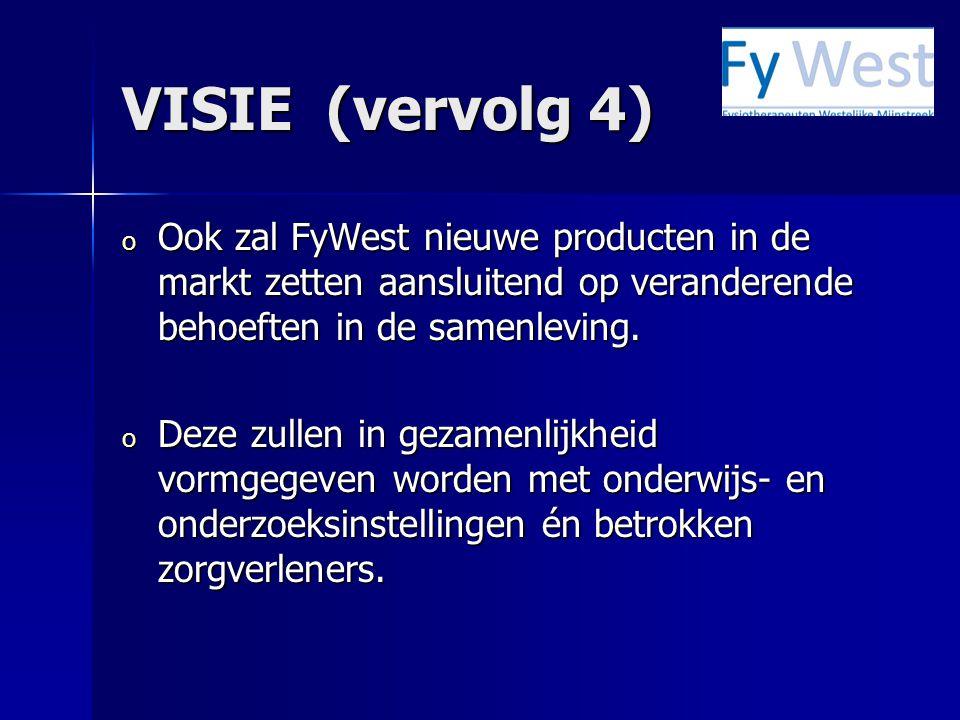 VISIE (vervolg 4) o Ook zal FyWest nieuwe producten in de markt zetten aansluitend op veranderende behoeften in de samenleving. o Deze zullen in gezam