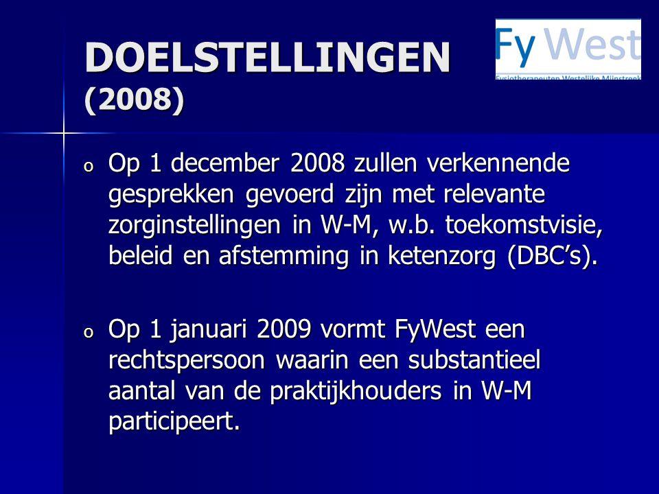 DOELSTELLINGEN (2008) o Op 1 december 2008 zullen verkennende gesprekken gevoerd zijn met relevante zorginstellingen in W-M, w.b. toekomstvisie, belei