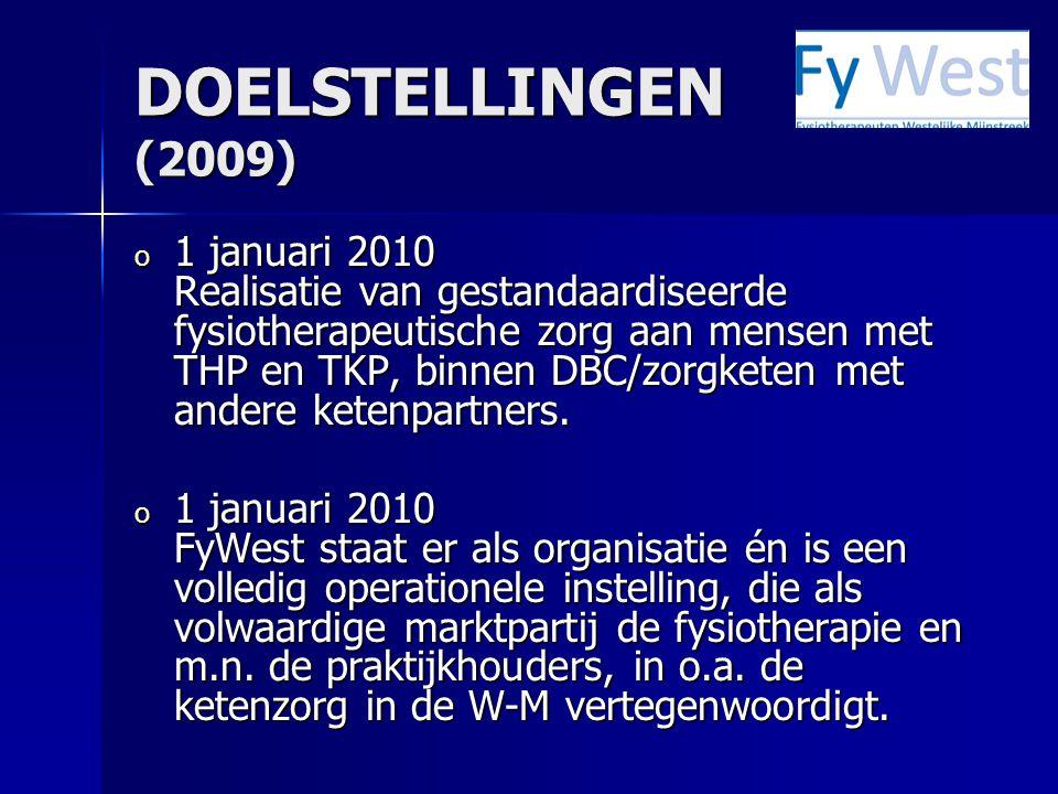 DOELSTELLINGEN (2009) o 1 januari 2010 Realisatie van gestandaardiseerde fysiotherapeutische zorg aan mensen met THP en TKP, binnen DBC/zorgketen met