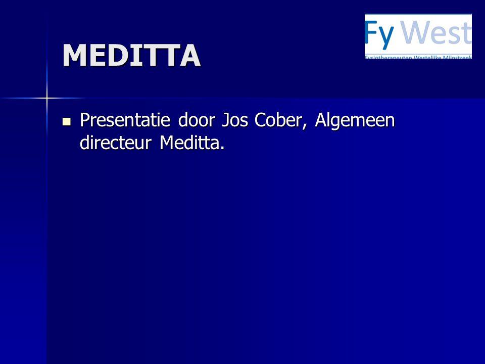 MEDITTA Presentatie door Jos Cober, Algemeen directeur Meditta. Presentatie door Jos Cober, Algemeen directeur Meditta.