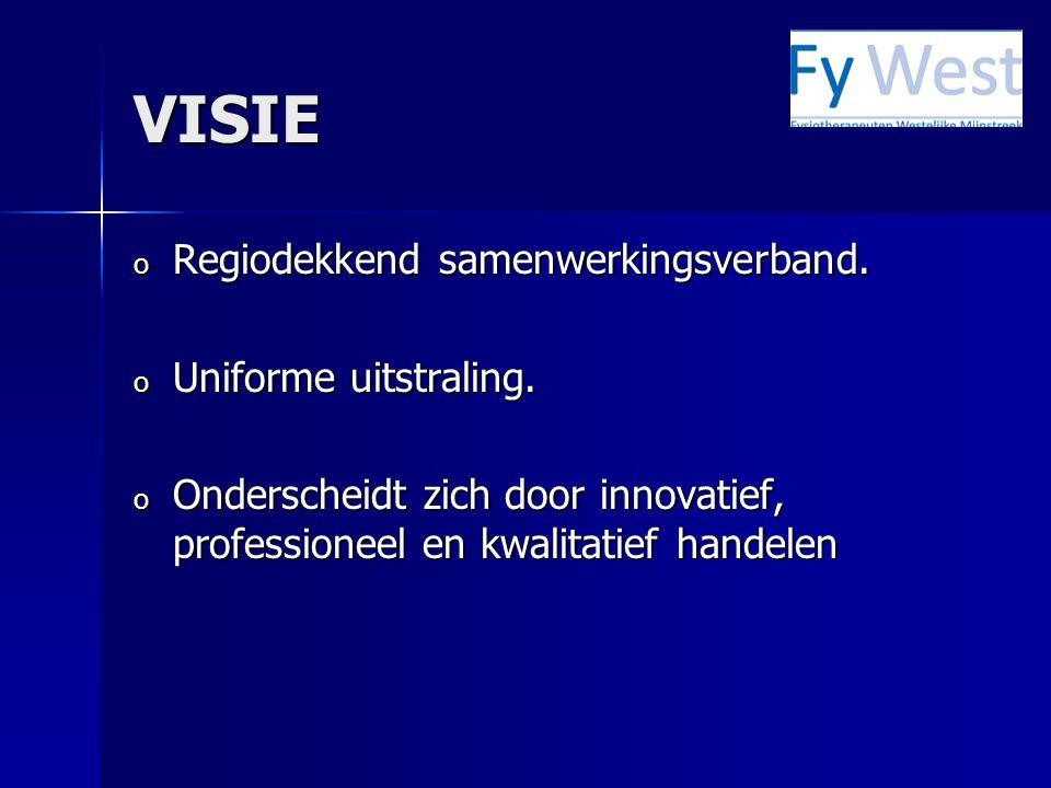VISIE o Regiodekkend samenwerkingsverband. o Uniforme uitstraling. o Onderscheidt zich door innovatief, professioneel en kwalitatief handelen