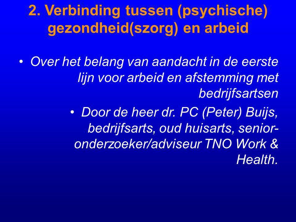 2. Verbinding tussen (psychische) gezondheid(szorg) en arbeid Over het belang van aandacht in de eerste lijn voor arbeid en afstemming met bedrijfsart