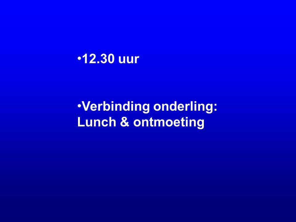 12.30 uur Verbinding onderling: Lunch & ontmoeting