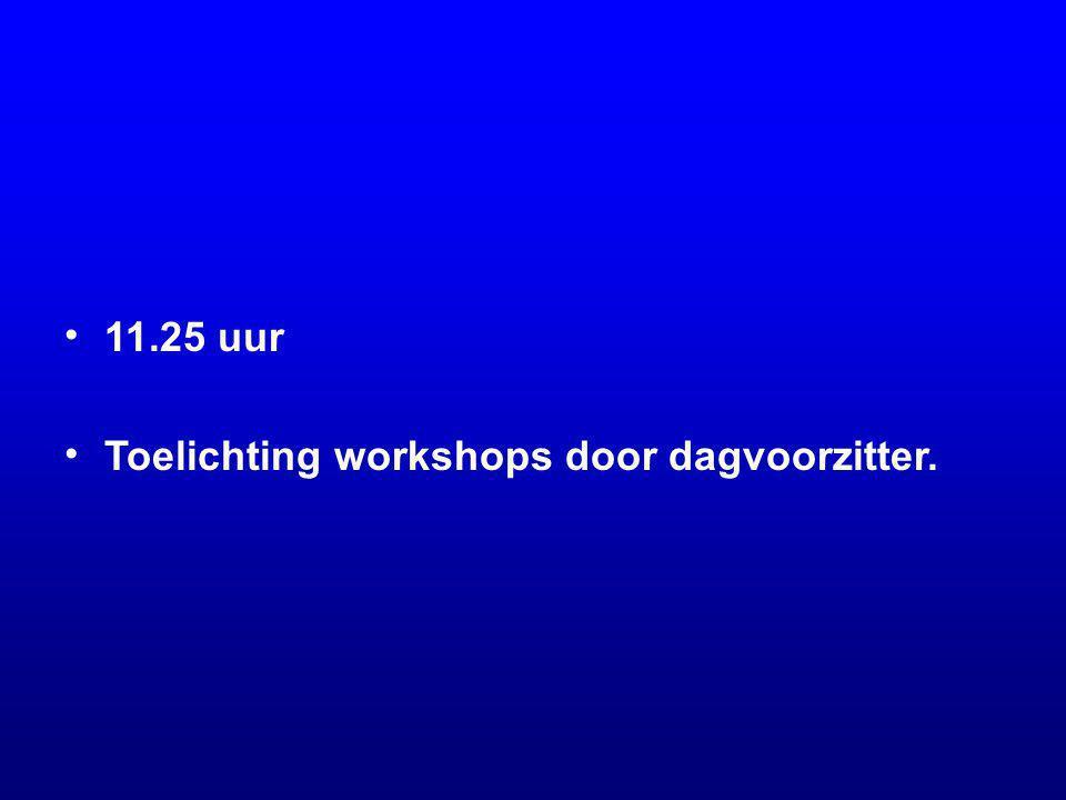 11.25 uur Toelichting workshops door dagvoorzitter.