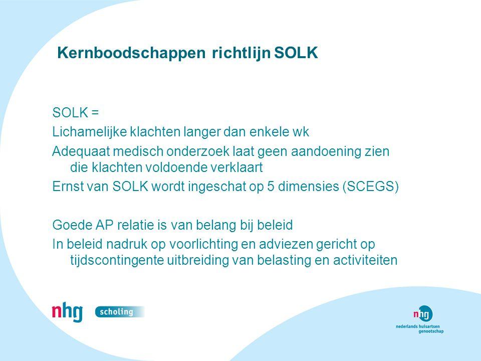 Kernboodschappen richtlijn SOLK SOLK = Lichamelijke klachten langer dan enkele wk Adequaat medisch onderzoek laat geen aandoening zien die klachten vo
