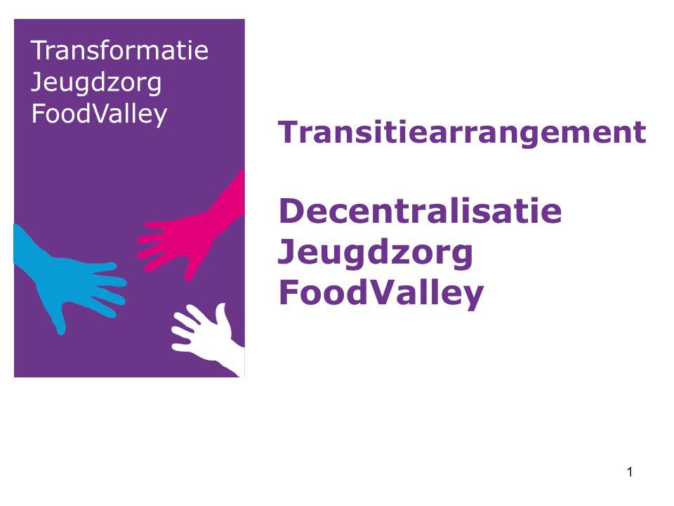 Transformatie Jeugdzorg FoodValley Transitiearrangement Decentralisatie Jeugdzorg FoodValley 1