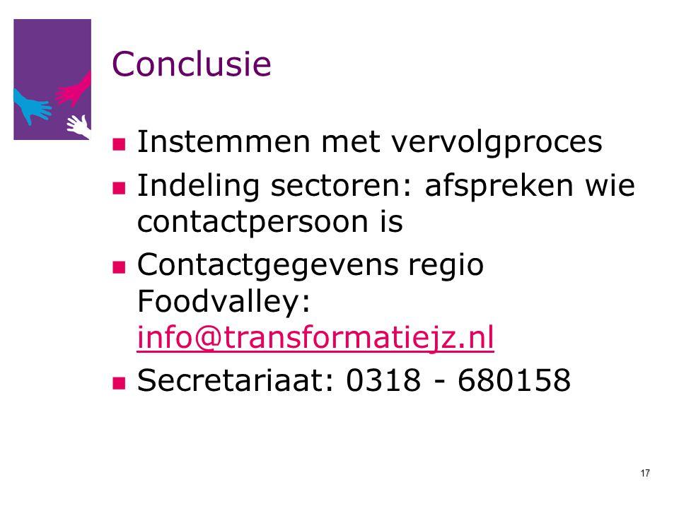 Conclusie Instemmen met vervolgproces Indeling sectoren: afspreken wie contactpersoon is Contactgegevens regio Foodvalley: info@transformatiejz.nl inf