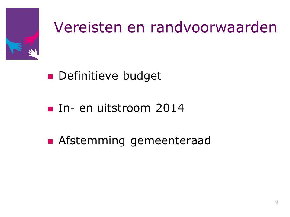 Vereisten en randvoorwaarden Definitieve budget In- en uitstroom 2014 Afstemming gemeenteraad 9
