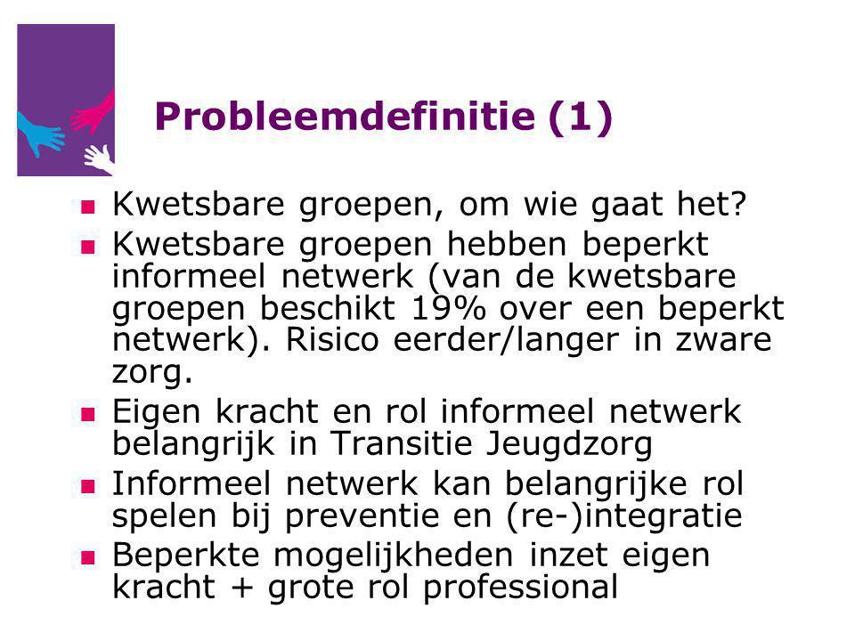 Probleemdefinitie (1) Kwetsbare groepen, om wie gaat het? Kwetsbare groepen hebben beperkt informeel netwerk (van de kwetsbare groepen beschikt 19% ov
