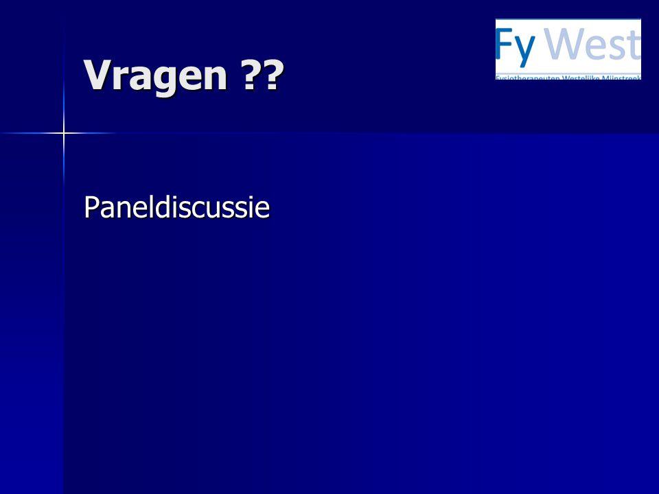 Vragen ?? Paneldiscussie