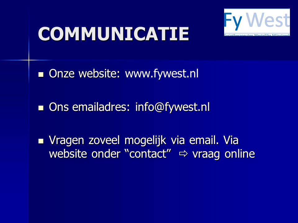 WEBSITE Op onze website staat allerlei informatie m.b.t.