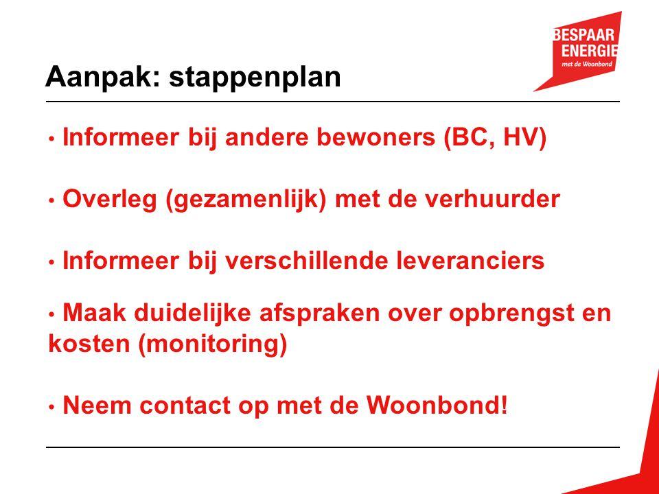 Informeer bij andere bewoners (BC, HV) Overleg (gezamenlijk) met de verhuurder Informeer bij verschillende leveranciers Maak duidelijke afspraken over