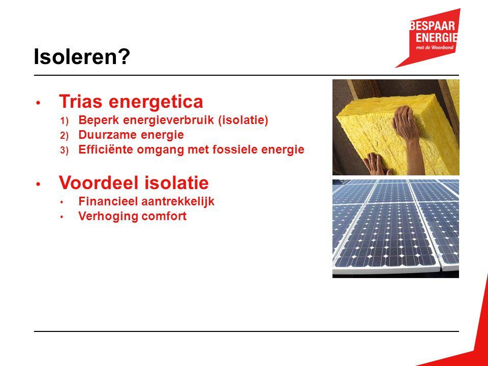 Trias energetica 1) Beperk energieverbruik (isolatie) 2) Duurzame energie 3) Efficiënte omgang met fossiele energie Voordeel isolatie Financieel aantr