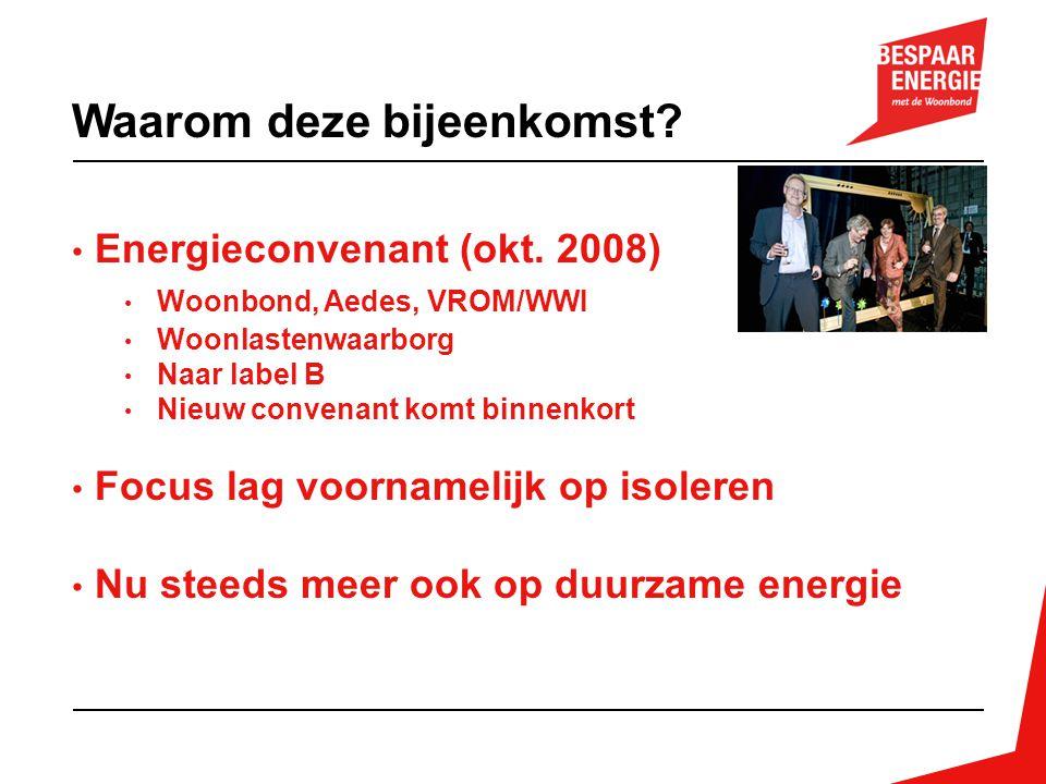 Energieconvenant (okt. 2008) Woonbond, Aedes, VROM/WWI Woonlastenwaarborg Naar label B Nieuw convenant komt binnenkort Focus lag voornamelijk op isole