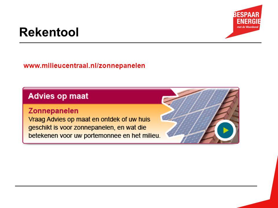 Rekentool www.milieucentraal.nl/zonnepanelen