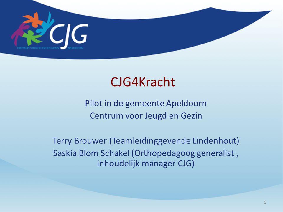 CJG4Kracht Pilot in de gemeente Apeldoorn Centrum voor Jeugd en Gezin Terry Brouwer (Teamleidinggevende Lindenhout) Saskia Blom Schakel (Orthopedagoog