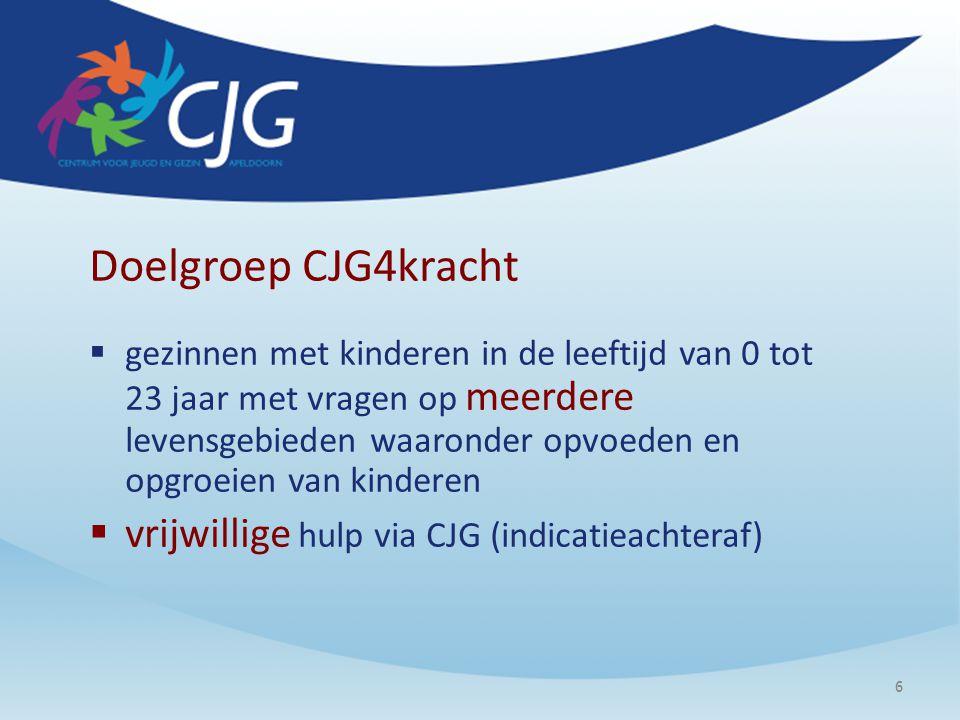 6 Doelgroep CJG4kracht  gezinnen met kinderen in de leeftijd van 0 tot 23 jaar met vragen op meerdere levensgebieden waaronder opvoeden en opgroeien