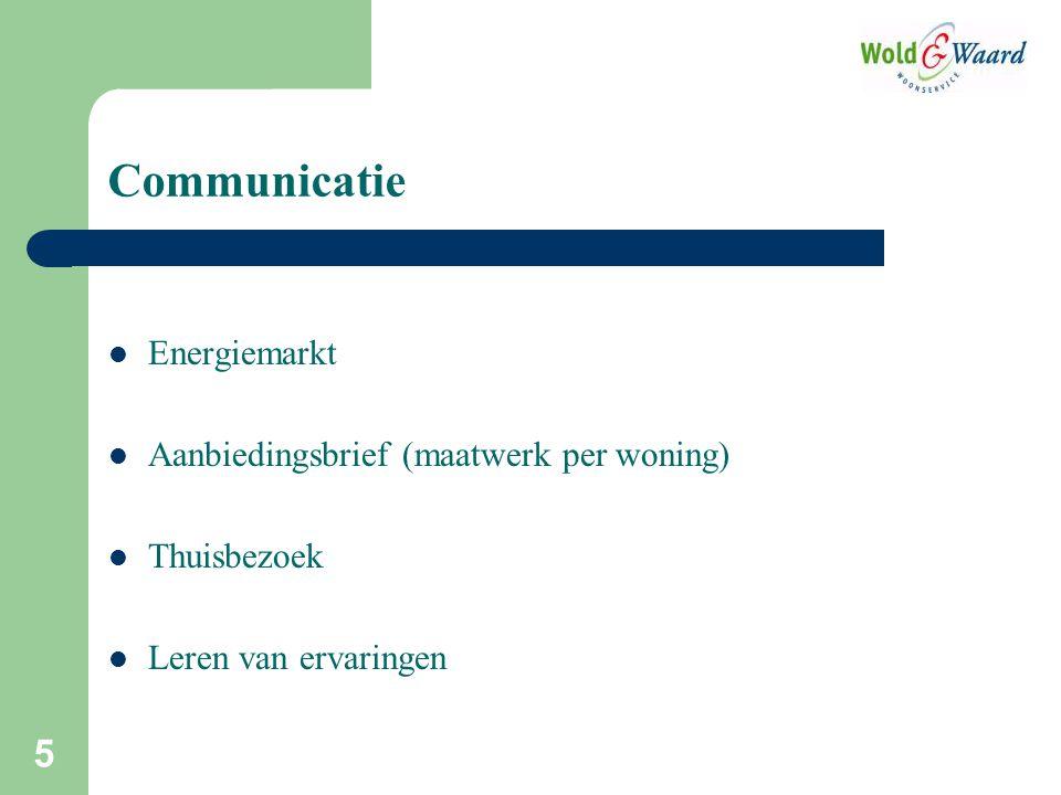 5 Communicatie Energiemarkt Aanbiedingsbrief (maatwerk per woning) Thuisbezoek Leren van ervaringen