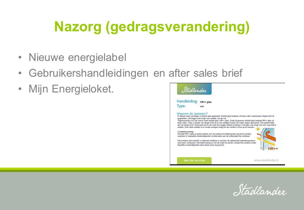 Nazorg (gedragsverandering) Nieuwe energielabel Gebruikershandleidingen en after sales brief Mijn Energieloket.