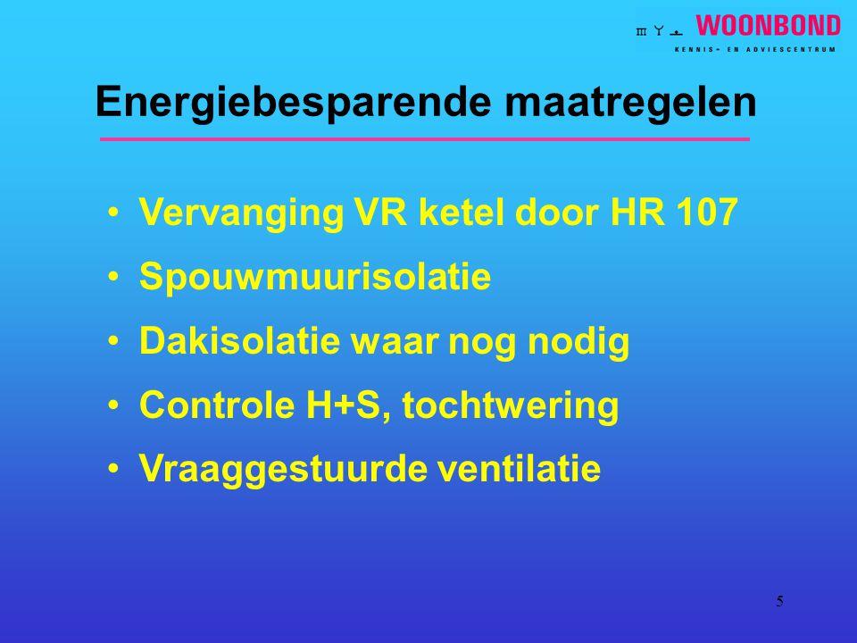5 Energiebesparende maatregelen Vervanging VR ketel door HR 107 Spouwmuurisolatie Dakisolatie waar nog nodig Controle H+S, tochtwering Vraaggestuurde ventilatie