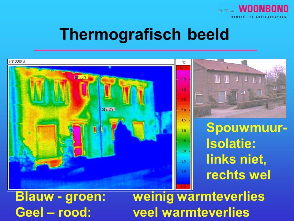Thermografisch beeld Spouwmuur- Isolatie: links niet, rechts wel Blauw - groen: weinig warmteverlies Geel – rood: veel warmteverlies