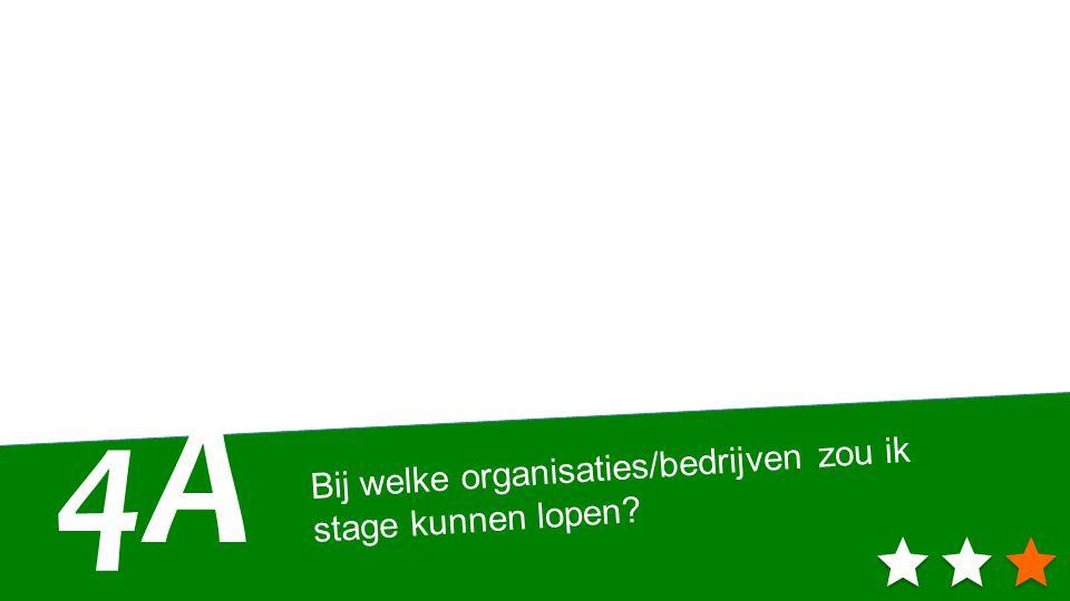 Bij welke organisaties/bedrijven zou ik stage kunnen lopen? 4A