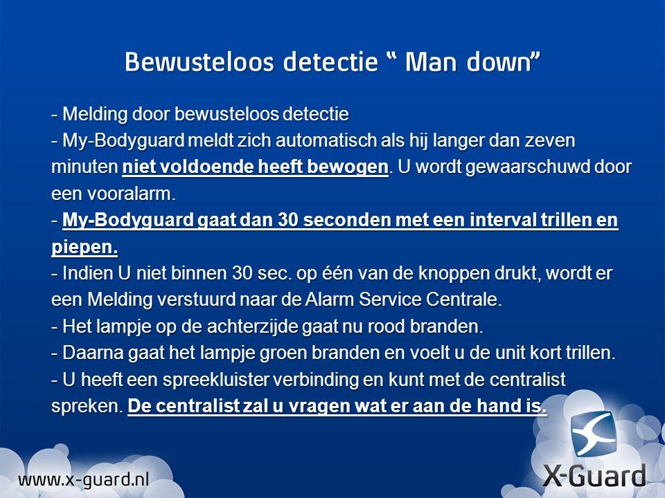- Melding door bewusteloos detectie - My-Bodyguard meldt zich automatisch als hij langer dan zeven minuten niet voldoende heeft bewogen. U wordt gewaa