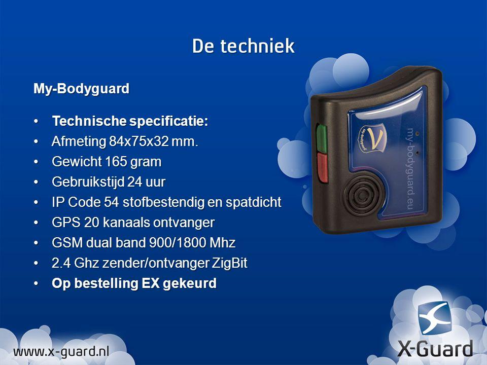 My-Bodyguard Technische specificatie:Technische specificatie: Afmeting 84x75x32 mm.Afmeting 84x75x32 mm. Gewicht 165 gramGewicht 165 gram Gebruikstijd
