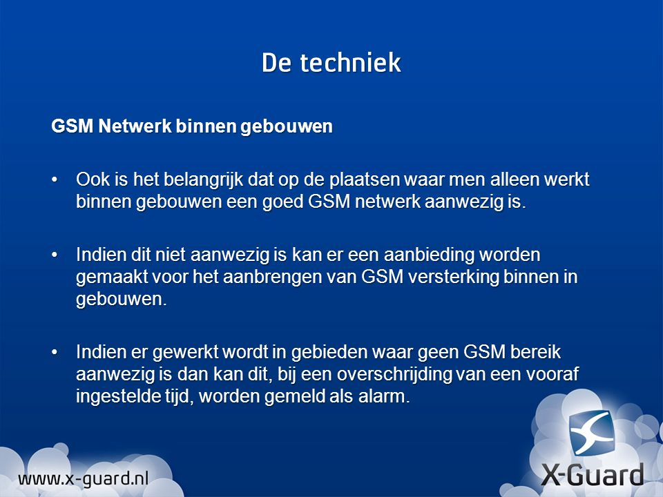 GSM Netwerk binnen gebouwen Ook is het belangrijk dat op de plaatsen waar men alleen werkt binnen gebouwen een goed GSM netwerk aanwezig is.Ook is het belangrijk dat op de plaatsen waar men alleen werkt binnen gebouwen een goed GSM netwerk aanwezig is.