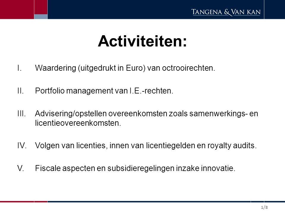 Activiteiten: I.Waardering (uitgedrukt in Euro) van octrooirechten.