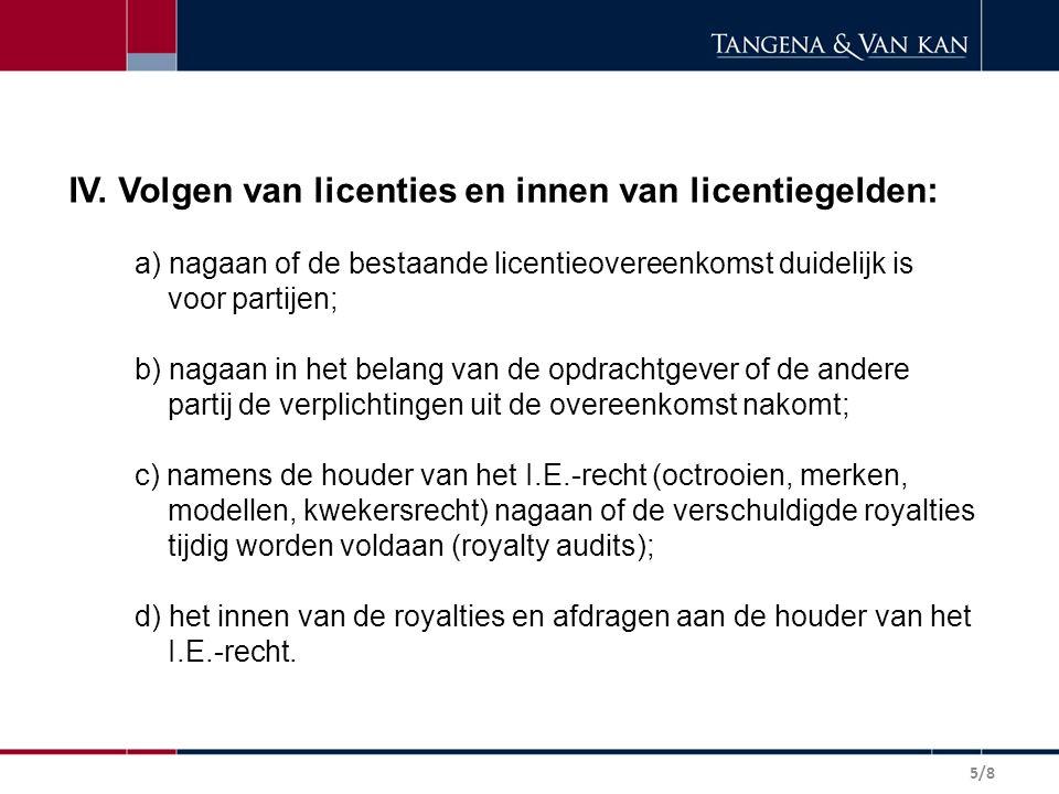 IV. Volgen van licenties en innen van licentiegelden: a) nagaan of de bestaande licentieovereenkomst duidelijk is voor partijen; b) nagaan in het bela