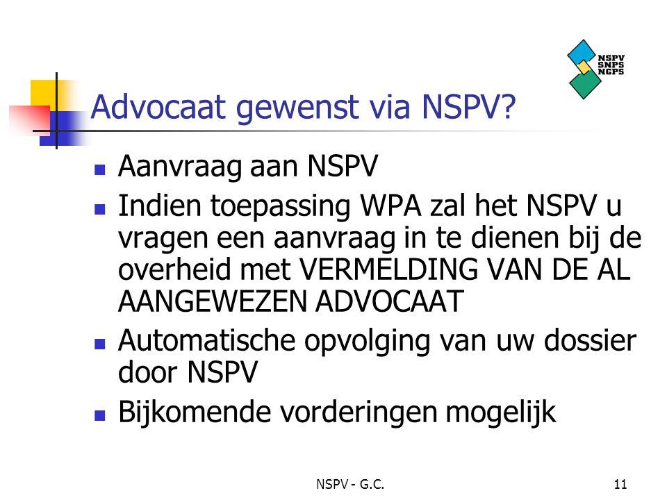 NSPV - G.C.11 Advocaat gewenst via NSPV.