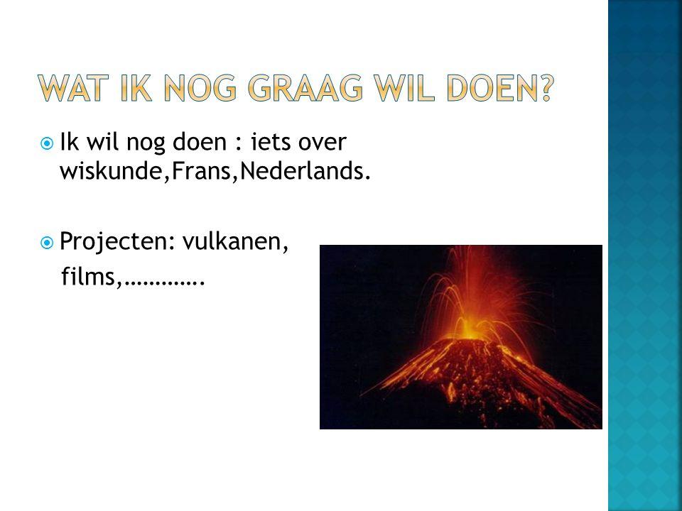  Ik wil nog doen : iets over wiskunde,Frans,Nederlands.  Projecten: vulkanen, films,………….