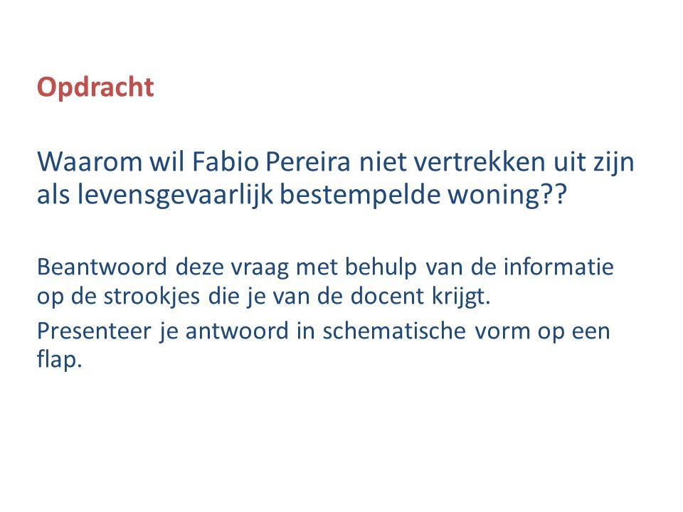 Opdracht Waarom wil Fabio Pereira niet vertrekken uit zijn als levensgevaarlijk bestempelde woning?? Beantwoord deze vraag met behulp van de informati