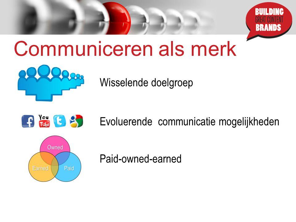 Communiceren als merk Wisselende doelgroep Evoluerende communicatie mogelijkheden Paid-owned-earned