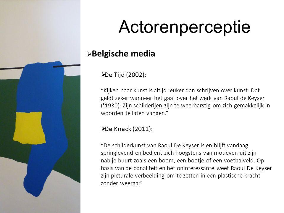 Actorenperceptie  Belgische media  De Tijd (2002): Kijken naar kunst is altijd leuker dan schrijven over kunst.