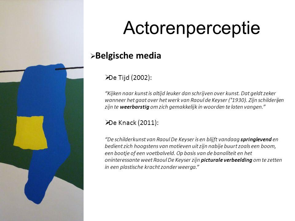 """Actorenperceptie  Belgische media  De Tijd (2002): """"Kijken naar kunst is altijd leuker dan schrijven over kunst. Dat geldt zeker wanneer het gaat ov"""