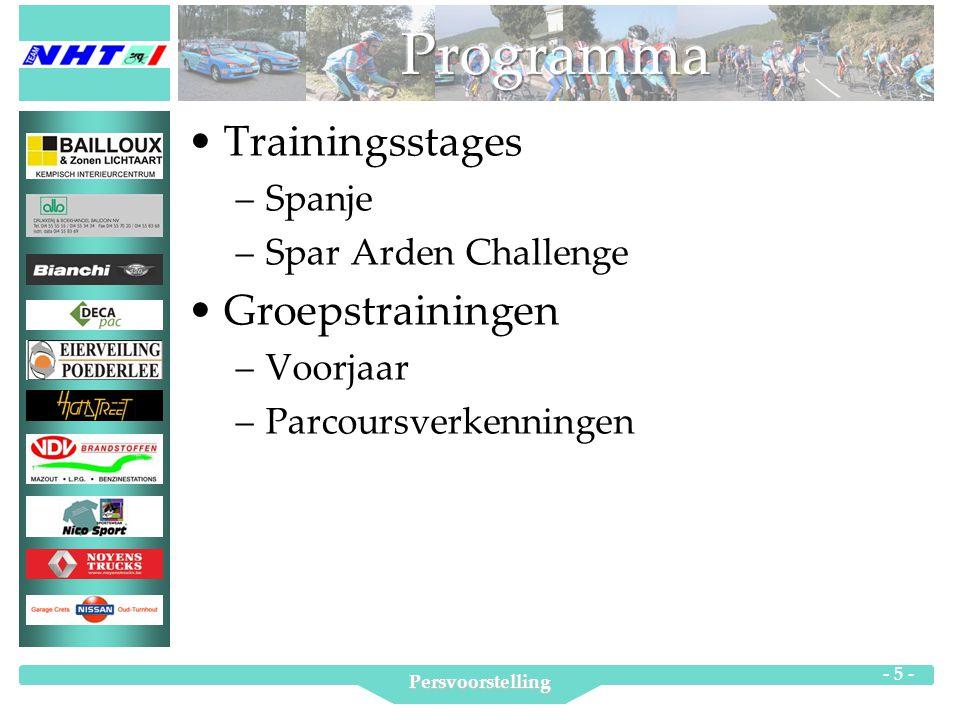 Persvoorstelling - 5 - Trainingsstages –Spanje –Spar Arden Challenge Groepstrainingen –Voorjaar –Parcoursverkenningen