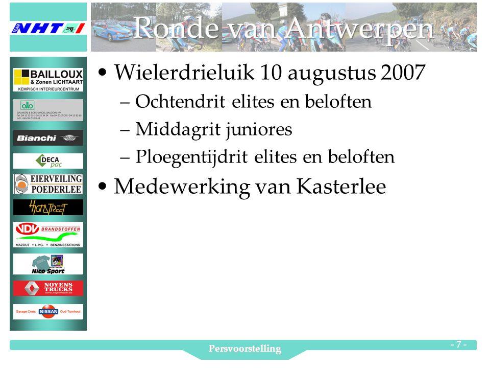 Persvoorstelling - 7 - Wielerdrieluik 10 augustus 2007 –Ochtendrit elites en beloften –Middagrit juniores –Ploegentijdrit elites en beloften Medewerking van Kasterlee